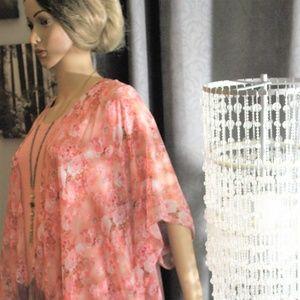 Tops - Pink Rose Flower Fringe Boho Sheer Cover Up Kimono